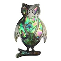 Taxco OWL Pin Pendant Dressed in Abalone Sterling Silver Eagle 3