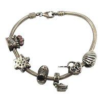Vintage CHAM 925 Sterling Silver Slide Charm Bracelet
