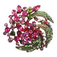 Vintage Colorful Crystal Rhinestone Hurricane Pin Pendant