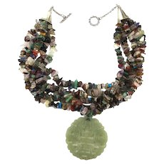 Carved Jade Pendant on Multi Strand Necklace of Multi Gemstones