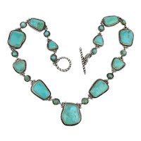 Genuine Turquoise Sterling Silver Necklace - Sleeping Beauty