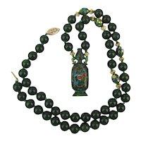 Gorgeous Vintage Jade Bead Necklace with Enamel Urn GF Beads