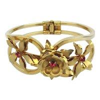 Pretty Hinged Goldtone Bracelet w/ Flower Tops