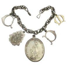 Vintage Sterling Silver Charm Bracelet Catholic Medal Unique Charms