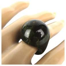 Vintage BAKELITE Black Swirl Dome Ring