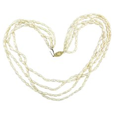 Estate 4 Strand Freshwater Rice Pearl Necklace 14K Gold Clasp