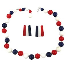 U.S.A. Red White and Blue Plastic Necklace Earrings Set