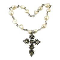 Huge Baroque Pearl Necklace w/  Sterling Silver Citrine Crystal Cross