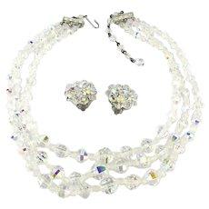 Vintage AB Crystal Rhinestone Necklace Clip Earrings Set