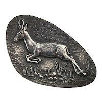 Art Deco Leaping Deer Sterling Silver Pin Brooch
