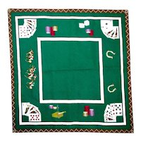 Handmade Needlepoint Vintage Card Table Cover Gambling Playing Cards Race Horses