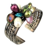 Taxco Sterling Silver Cuff Bracelet - All Dressed Up With Pearls