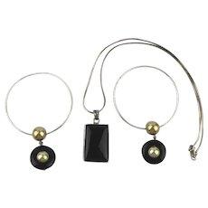 Savvy Sterling Silver Black Onyx Set Necklace w / Hoop Earrings