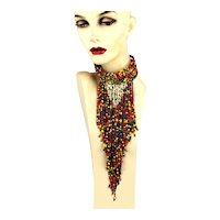 Amazing Colorful Bead Collar Necklace w/ Footlong Cascade