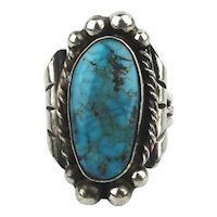Old Navajo Sterling Silver Turquoise Ring Signed JZ