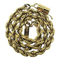 Mens 14K Yellow Gold Twist Chain Bracelet 10.5 Grams