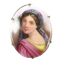 Victorian Hand Painted Portrait Lady Pin - Over the Shoulder Look