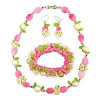 Fun Flirty Plastic Flower Parure Fifties Retro Jewelry Set