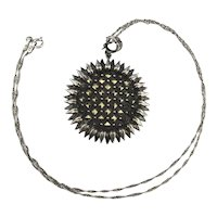 Sterling Silver Marcasite SUNFLOWER Pendant Necklace