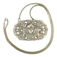 Heavy Sterling Silver Art Nouveau Revival Necklace
