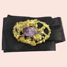 Vintage Mexican COPA Brutalist Belt Buckle w/ Leather Belt and Huge Amethyst Stone