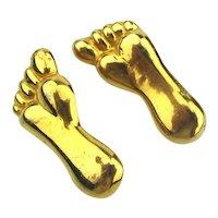 Vintage Gilded FEET FOOT Pins Pair of Adorable Tootsies