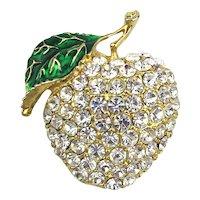 Vintage Crystal Rhinestone APPLE Pin Brooch
