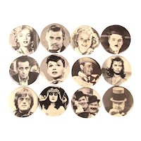 12 Personality Pins 1960s Movie Star Pin Back Buttons