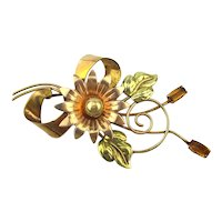 c1950 Gold Filled BAL-RON Flower Pin - Super Nice One