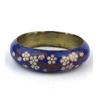 Vintage Enamel Bangle Bracelet Flowers and Birds