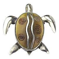 Zealandia Sterling Silver Carved Fossil Turtle Brooch Pendant