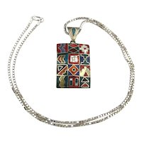 Southwest 925 Silver Necklace 12 Colorful Inlaid Squares in One Pendant