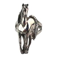 Realistic Sterling Silver Figural Horse Ring 925 Vintage Bali
