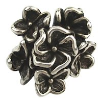 Big Sterling Silver Puffy Flower Cluster Ring
