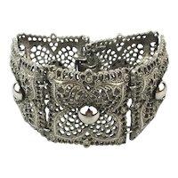 Vintage CELEBRITY Wide Filigree Bracelet w/ Bonus Clip Earrings
