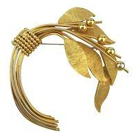 Vintage KRAMER Goldtone Big Droopy Flower Pin Brooch