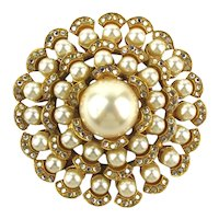 Vintage DUBIN NR Big Faux Pearl Rhinestone Pin Brooch