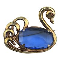 Vintage Gilded SWAN Jelly Belly Pin Brooch