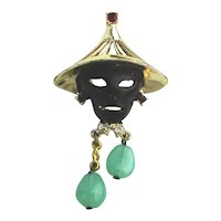 Vintage Mask Pin of Black Face Woman w/ Asian Style