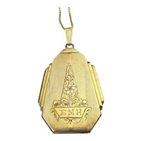 Art Deco Dunn Bros. Gold-Filled Engraved Locket w/ Gold on Sterling Chain Necklace