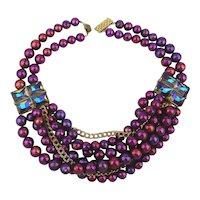 Awesome Blurple Multi Strand Bead Necklace w/ Mod Glass