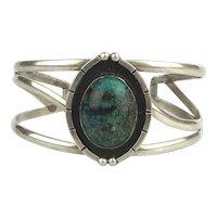 Mexican Sterling Silver Turquoise ART PLAT Cuff Bracelet