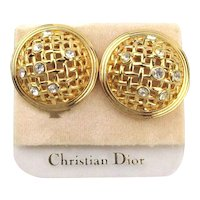 Vintage Christian DIOR Clip Dome Earrings on Orig. Card