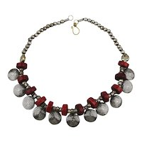 Tribal Ethnic Necklace - Silvertone w/ Red Disk Beads