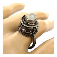 Ethnic Tribal Sterling Silver Poison Ring w/ Moonstone