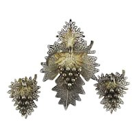 Old Ethnic Silver Filigree Pin Earrings Set w/ Grape Bunch Dangles
