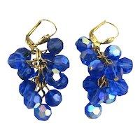 Vintage 14K Gold AB Blue Crystal Bead Dangle Earrings