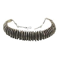 Signed Sterling Silver Rigid Ridged Necklace Torque Band
