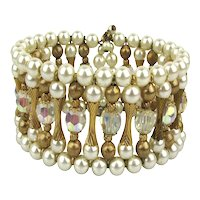 Vintage Wired Pearled Crystaled Gilded Wrap Bracelet