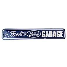 SOLD TO V.B. - Original 1960s ELLIOT'S FORD GARAGE Car Dealer Metal Advertising Sign